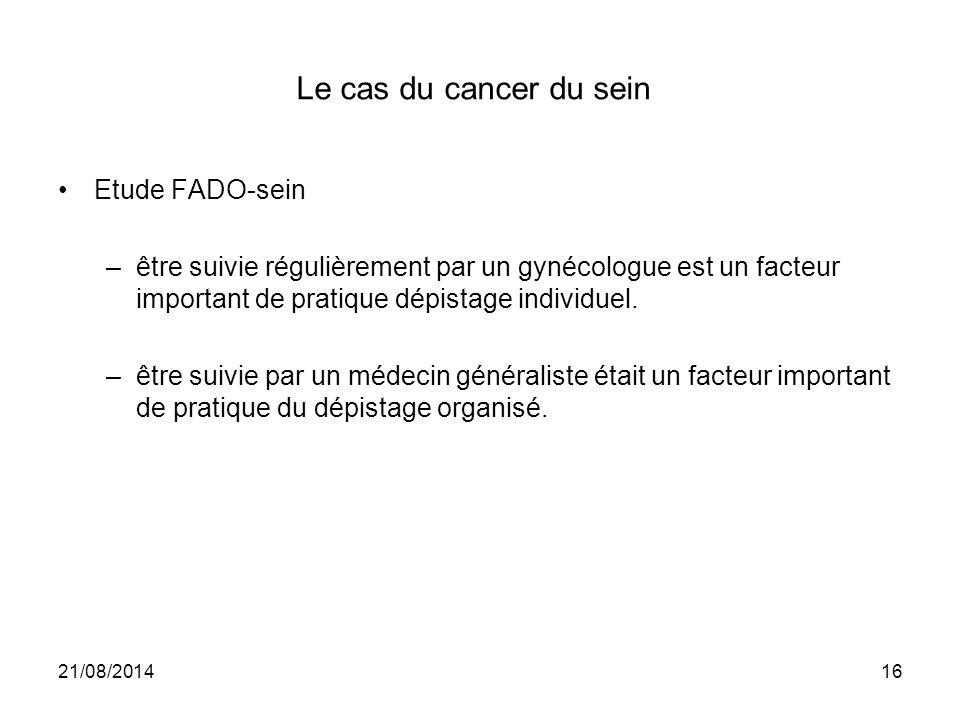 Le cas du cancer du sein Etude FADO-sein –être suivie régulièrement par un gynécologue est un facteur important de pratique dépistage individuel. –êtr