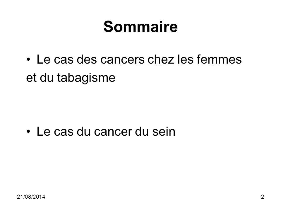 Sommaire Le cas des cancers chez les femmes et du tabagisme Le cas du cancer du sein 21/08/20142