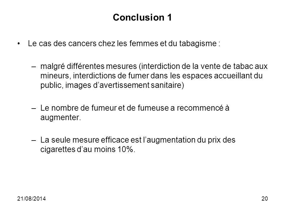 Conclusion 1 Le cas des cancers chez les femmes et du tabagisme : –malgré différentes mesures (interdiction de la vente de tabac aux mineurs, interdic