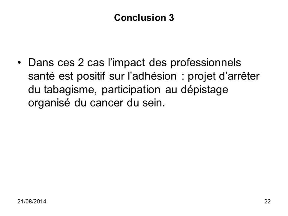 Conclusion 3 Dans ces 2 cas l'impact des professionnels santé est positif sur l'adhésion : projet d'arrêter du tabagisme, participation au dépistage o