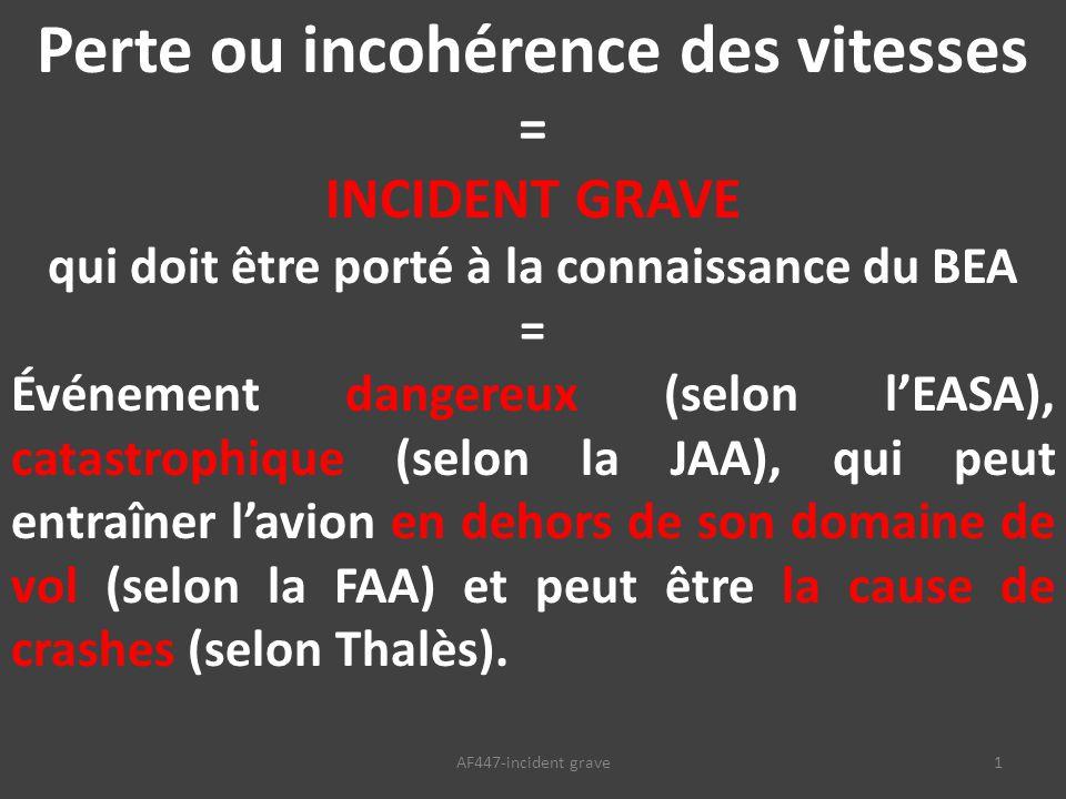 1AF447-incident grave Perte ou incohérence des vitesses = INCIDENT GRAVE qui doit être porté à la connaissance du BEA = Événement dangereux (selon l'EASA), catastrophique (selon la JAA), qui peut entraîner l'avion en dehors de son domaine de vol (selon la FAA) et peut être la cause de crashes (selon Thalès).