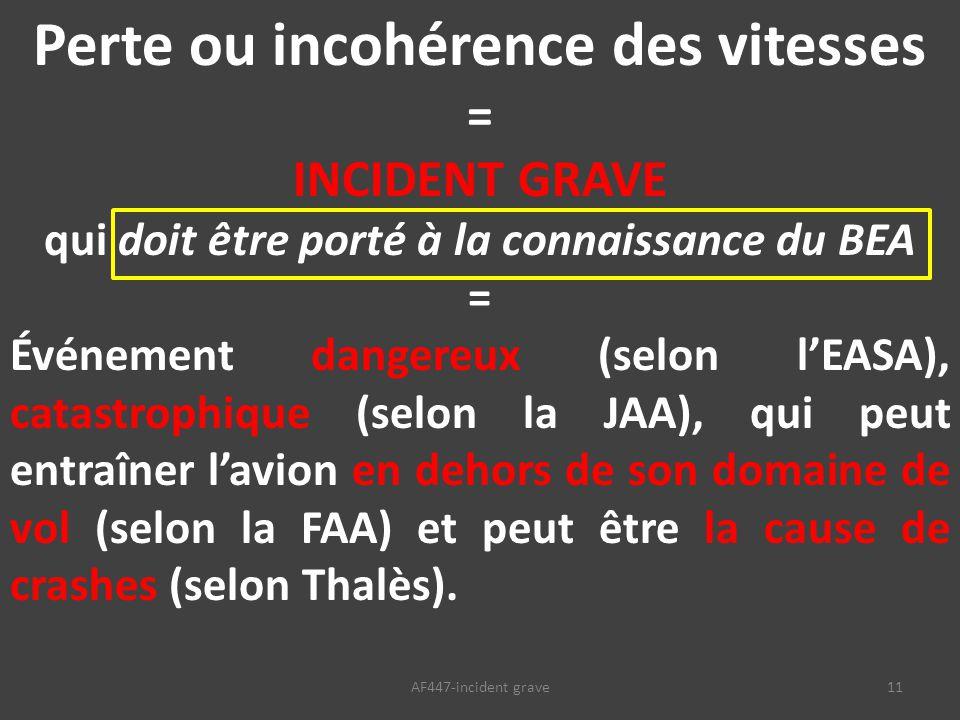 11AF447-incident grave Perte ou incohérence des vitesses = INCIDENT GRAVE qui doit être porté à la connaissance du BEA = Événement dangereux (selon l'EASA), catastrophique (selon la JAA), qui peut entraîner l'avion en dehors de son domaine de vol (selon la FAA) et peut être la cause de crashes (selon Thalès).
