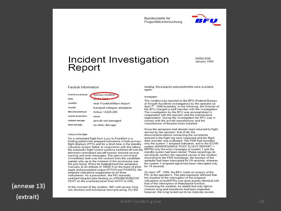 AF447-incident grave29 (annexe 13) (extrait)