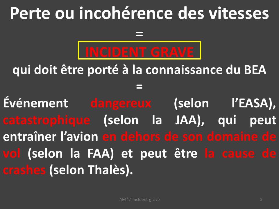 3AF447-incident grave Perte ou incohérence des vitesses = INCIDENT GRAVE qui doit être porté à la connaissance du BEA = Événement dangereux (selon l'EASA), catastrophique (selon la JAA), qui peut entraîner l'avion en dehors de son domaine de vol (selon la FAA) et peut être la cause de crashes (selon Thalès).
