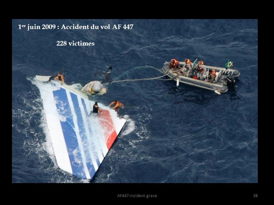 AF447-incident grave38 1 er juin 2009 : Accident du vol AF 447 228 victimes
