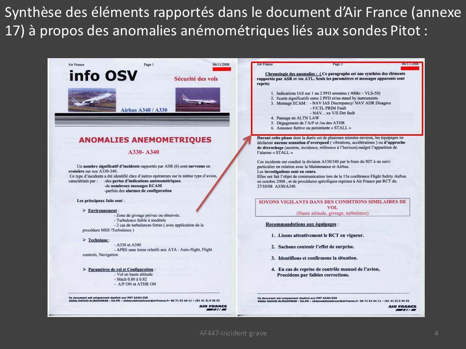 AF447-incident grave4 Synthèse des éléments rapportés dans le document d'Air France (annexe 17) à propos des anomalies anémométriques liés aux sondes Pitot :
