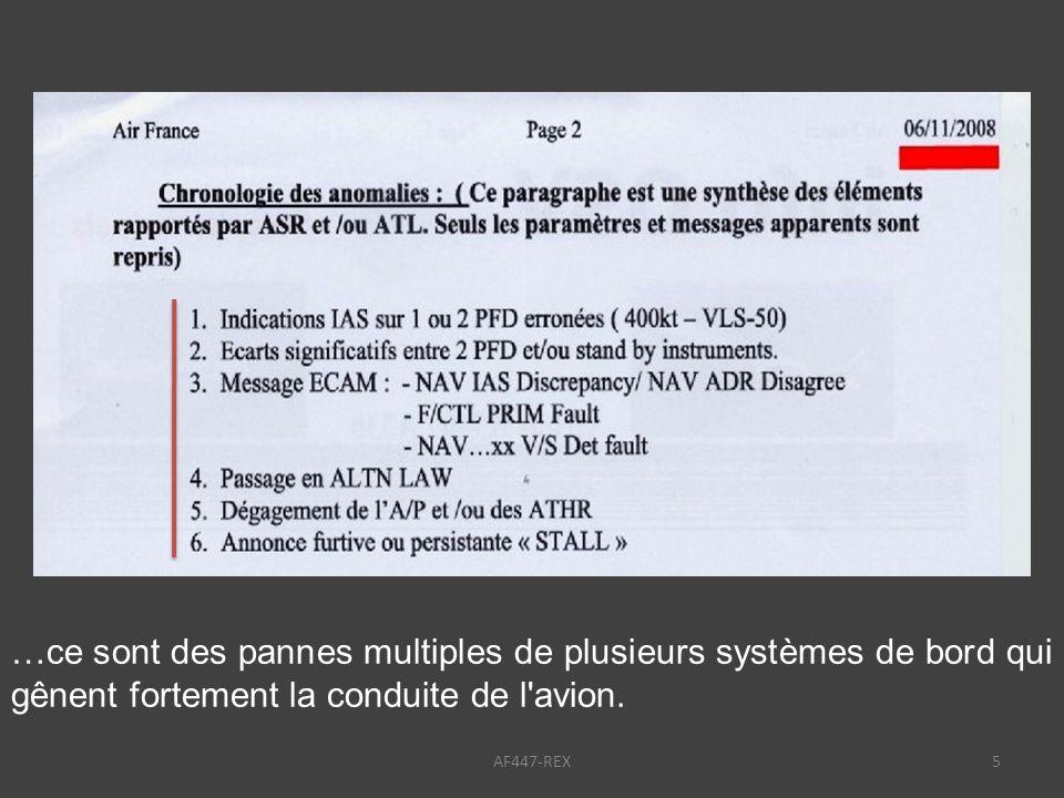 …ce sont des pannes multiples de plusieurs systèmes de bord qui gênent fortement la conduite de l avion.
