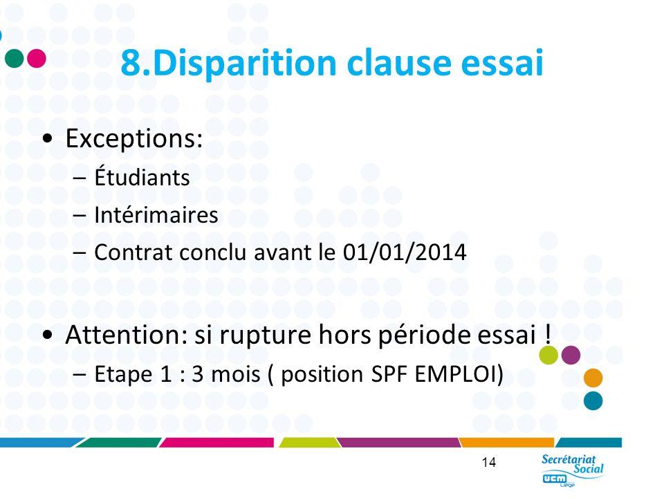 8.Disparition clause essai Exceptions: –Étudiants –Intérimaires –Contrat conclu avant le 01/01/2014 Attention: si rupture hors période essai .