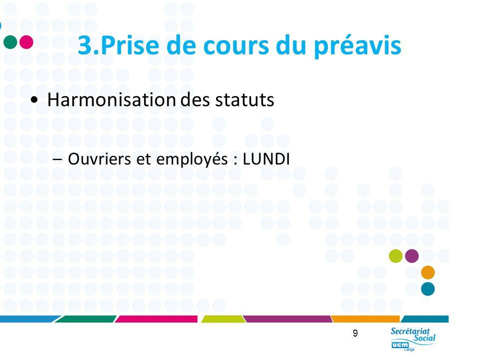 3.Prise de cours du préavis Harmonisation des statuts –Ouvriers et employés : LUNDI 9