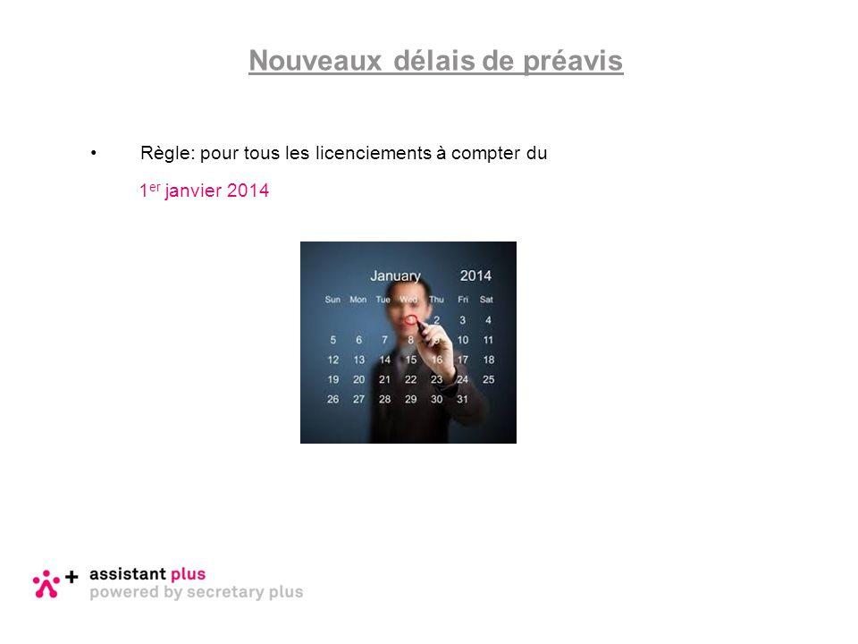 Règle: pour tous les licenciements à compter du 1 er janvier 2014 Nouveaux délais de préavis