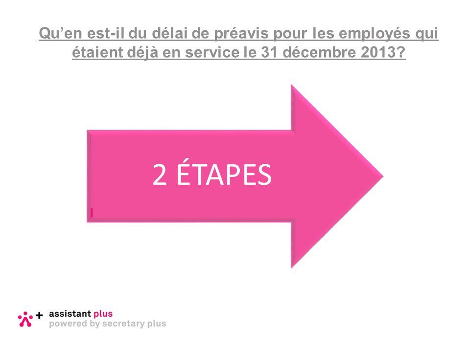 Qu'en est-il du délai de préavis pour les employés qui étaient déjà en service le 31 décembre 2013? 2 ÉTAPES