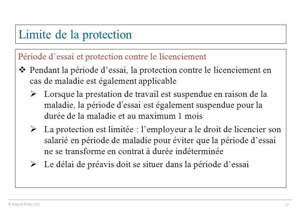 © Allen & Overy 2012 15 Limite de la protection Période d'essai et protection contre le licenciement  Pendant la période d'essai, la protection contr