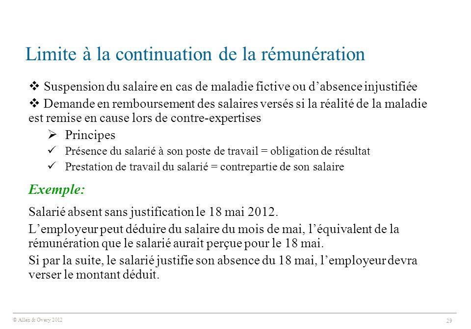 © Allen & Overy 2012 29 Limite à la continuation de la rémunération  Suspension du salaire en cas de maladie fictive ou d'absence injustifiée  Deman