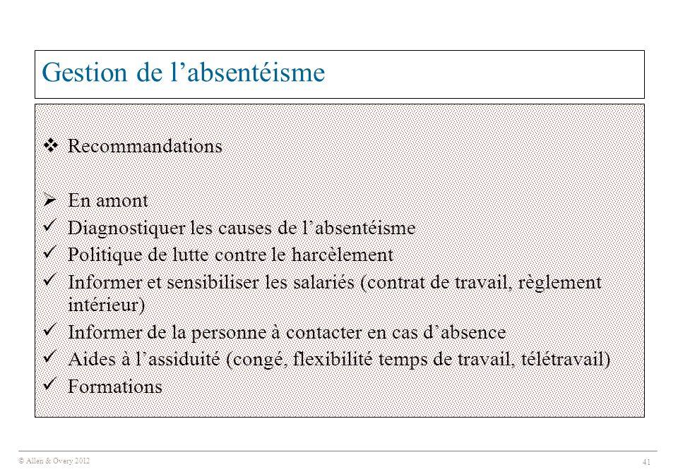© Allen & Overy 2012 41 Gestion de l'absentéisme  Recommandations  En amont Diagnostiquer les causes de l'absentéisme Politique de lutte contre le h