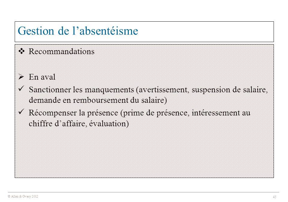© Allen & Overy 2012 45 Gestion de l'absentéisme  Recommandations  En aval Sanctionner les manquements (avertissement, suspension de salaire, demand