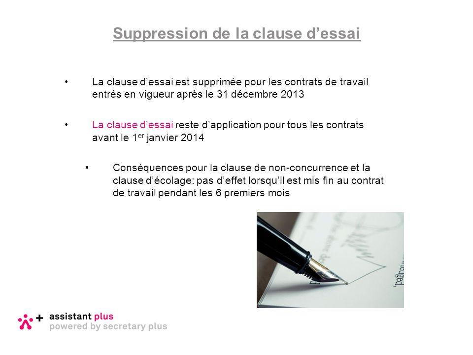 La clause d'essai est supprimée pour les contrats de travail entrés en vigueur après le 31 décembre 2013 La clause d'essai reste d'application pour to