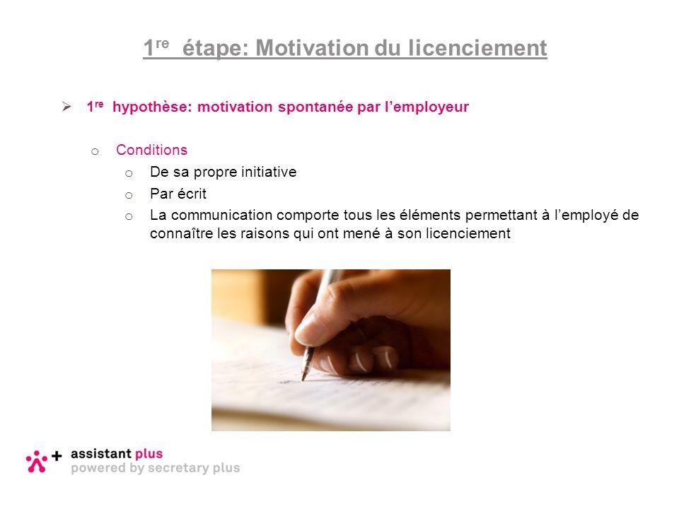  1 re hypothèse: motivation spontanée par l'employeur o Conditions o De sa propre initiative o Par écrit o La communication comporte tous les élément