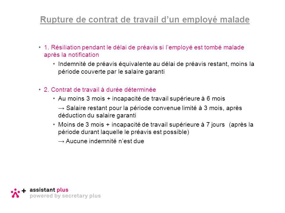 1. Résiliation pendant le délai de préavis si l'employé est tombé malade après la notification Indemnité de préavis équivalente au délai de préavis re