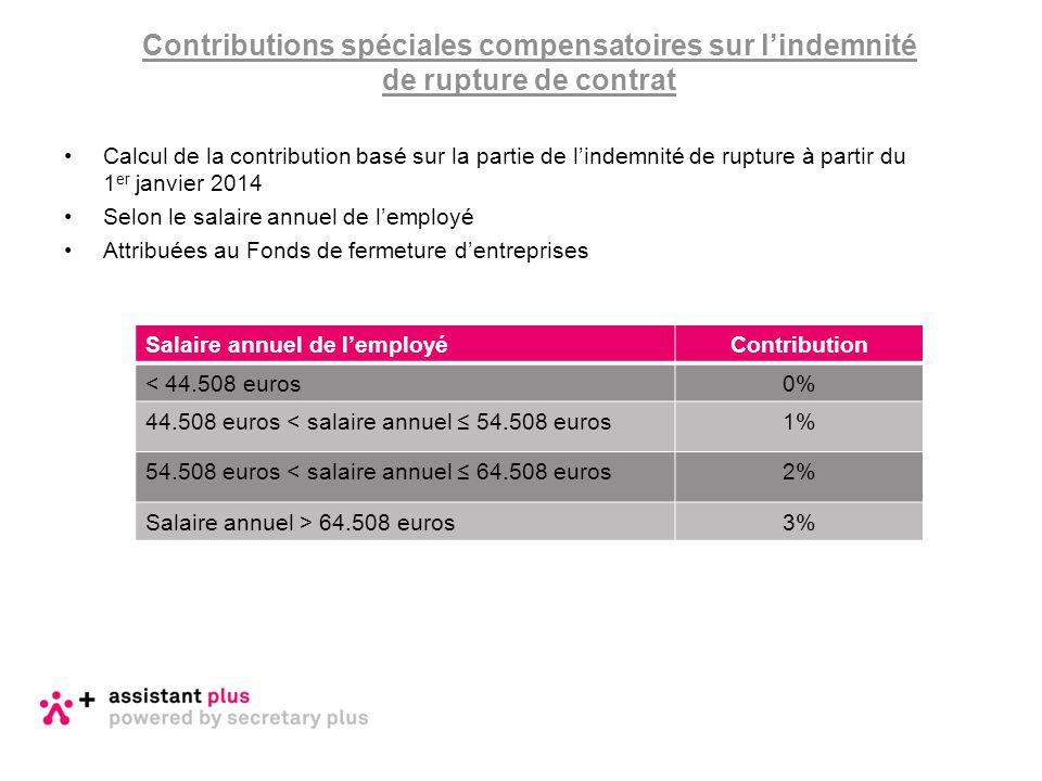 Calcul de la contribution basé sur la partie de l'indemnité de rupture à partir du 1 er janvier 2014 Selon le salaire annuel de l'employé Attribuées a