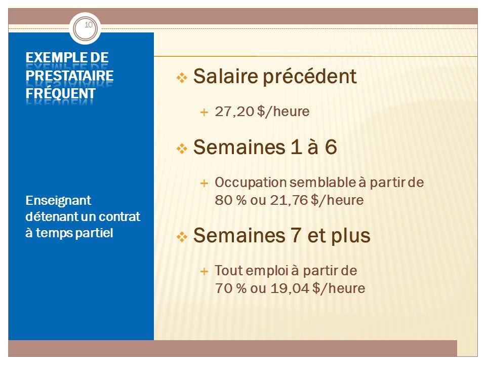 ASSURANCE-EMPLOI JUIN 2014 Enseignant détenant un contrat à temps partiel  Salaire précédent  27,20 $/heure  Semaines 1 à 6  Occupation semblable