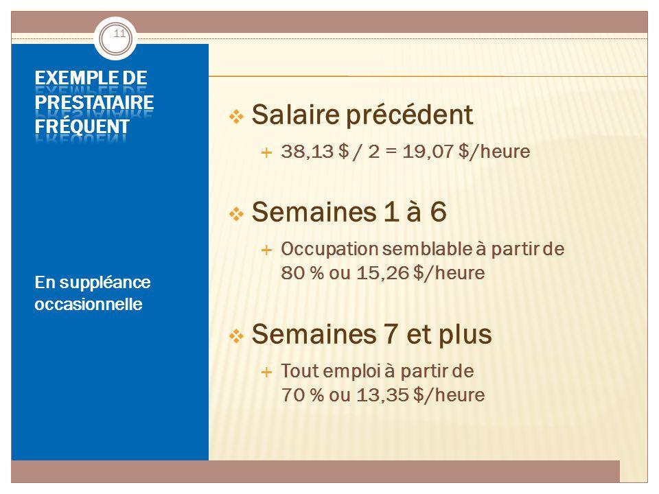 ASSURANCE-EMPLOI JUIN 2014 En suppléance occasionnelle  Salaire précédent  38,13 $ / 2 = 19,07 $/heure  Semaines 1 à 6  Occupation semblable à par