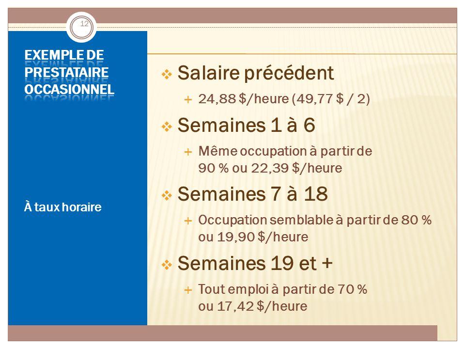 ASSURANCE-EMPLOI JUIN 2014 À taux horaire  Salaire précédent  24,88 $/heure (49,77 $ / 2)  Semaines 1 à 6  Même occupation à partir de 90 % ou 22,