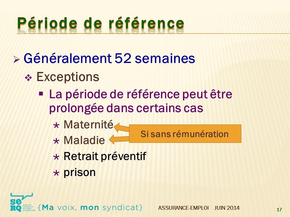 ASSURANCE-EMPLOI JUIN 2014  Généralement 52 semaines  Exceptions  La période de référence peut être prolongée dans certains cas  Maternité  Malad