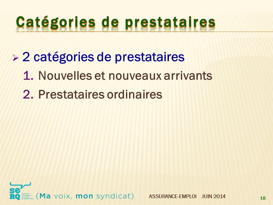ASSURANCE-EMPLOI JUIN 2014  2 catégories de prestataires 1.Nouvelles et nouveaux arrivants 2.Prestataires ordinaires 18