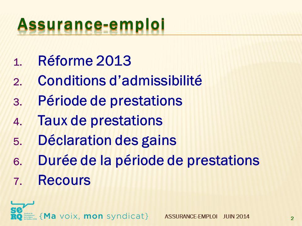 ASSURANCE-EMPLOI JUIN 2014 1. Réforme 2013 2. Conditions d'admissibilité 3. Période de prestations 4. Taux de prestations 5. Déclaration des gains 6.