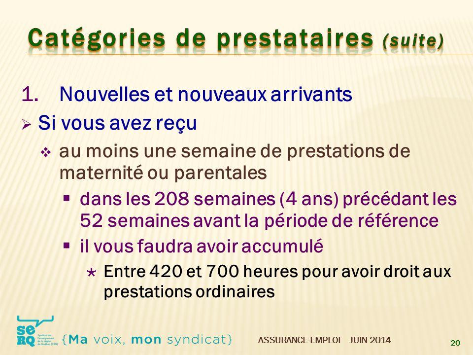 ASSURANCE-EMPLOI JUIN 2014 1.Nouvelles et nouveaux arrivants  Si vous avez reçu  au moins une semaine de prestations de maternité ou parentales  da