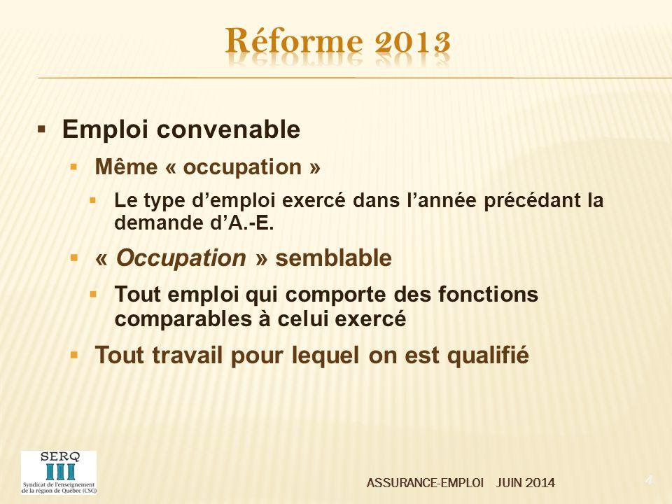 ASSURANCE-EMPLOI JUIN 2014  Ont cotisé au régime d'A.-E.