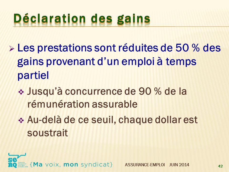 ASSURANCE-EMPLOI JUIN 2014  Les prestations sont réduites de 50 % des gains provenant d'un emploi à temps partiel  Jusqu'à concurrence de 90 % de la