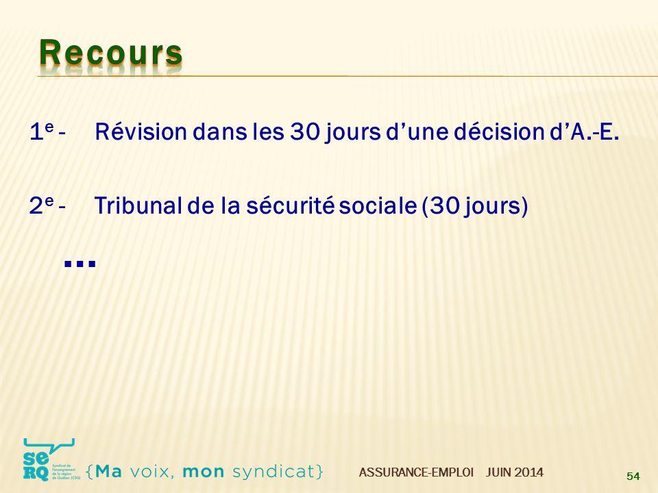 ASSURANCE-EMPLOI JUIN 2014 1 e -Révision dans les 30 jours d'une décision d'A.-E. 2 e -Tribunal de la sécurité sociale (30 jours) … 54