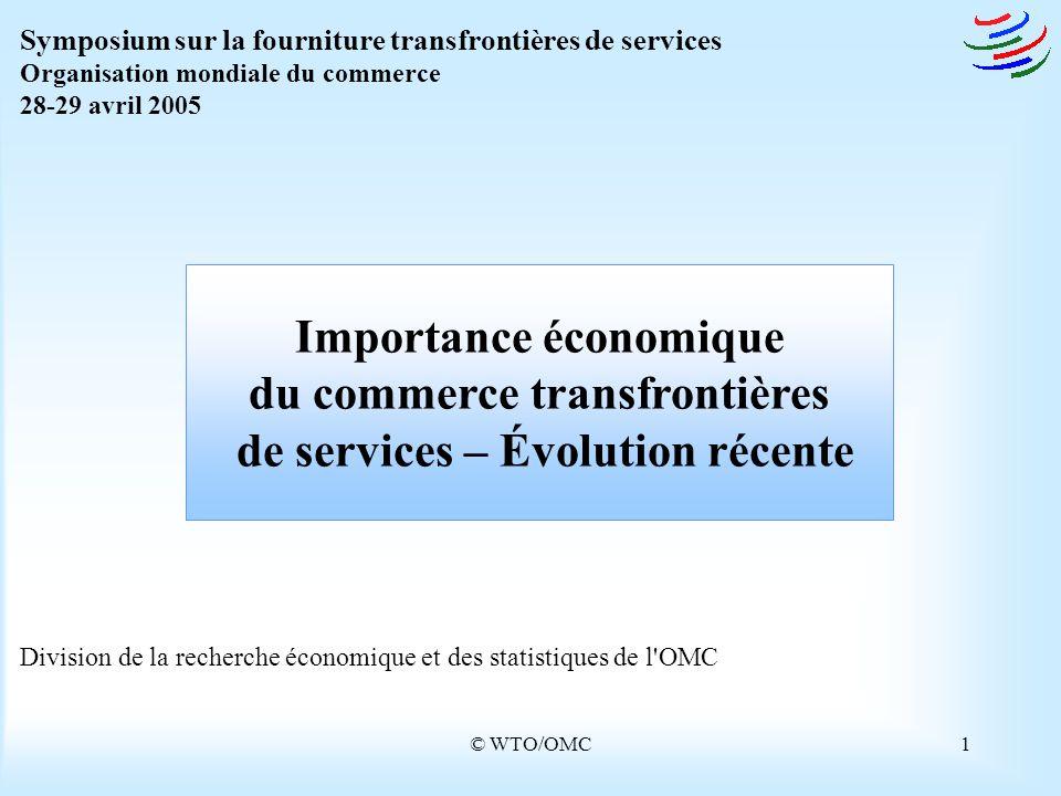 © WTO/OMC1 Division de la recherche économique et des statistiques de l'OMC Importance économique du commerce transfrontières de services – Évolution
