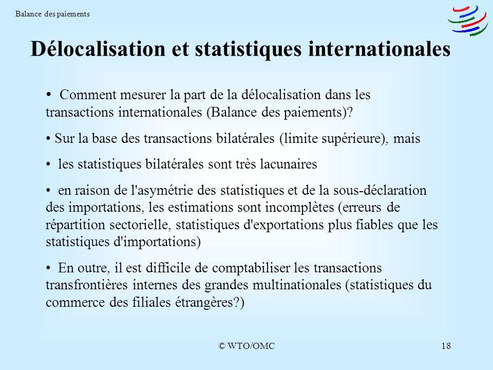 © WTO/OMC18 Délocalisation et statistiques internationales Balance des paiements Comment mesurer la part de la délocalisation dans les transactions in