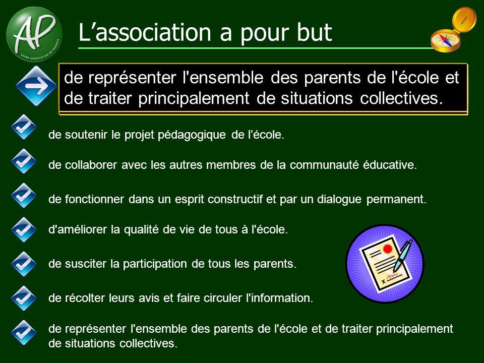 L'association a pour but de soutenir le projet pédagogique de l'école. de collaborer avec les autres membres de la communauté éducative. de fonctionne