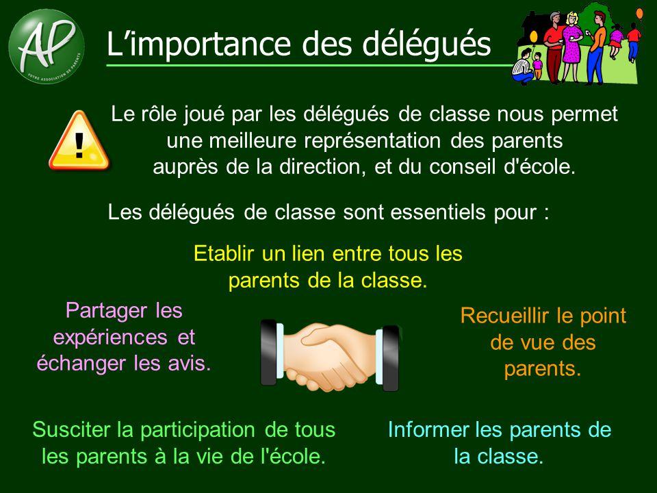 L'importance des délégués Le rôle joué par les délégués de classe nous permet une meilleure représentation des parents auprès de la direction, et du c