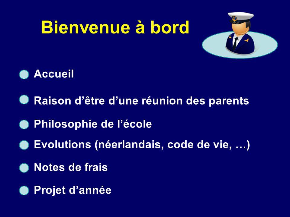 Bienvenue à bord Accueil Raison d'être d'une réunion des parents Philosophie de l'école Evolutions (néerlandais, code de vie, …) Notes de frais Projet