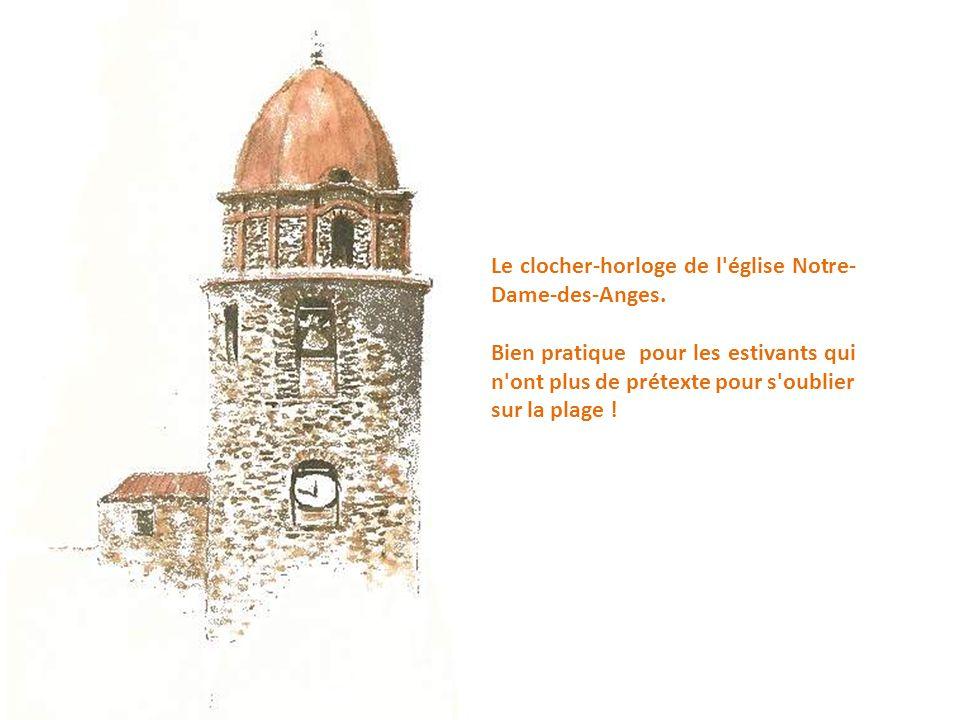 Collioure, sur la Méditerranée : L'église Notre-Dame-Aux-Anges et la plage Boramar.