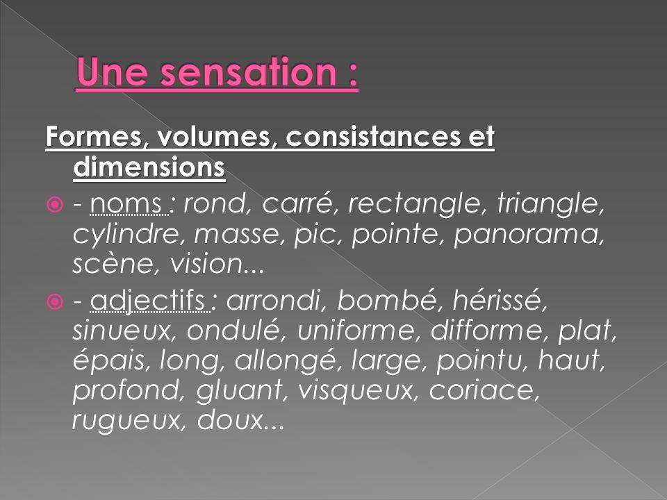 Formes, volumes, consistances et dimensions  - noms : rond, carré, rectangle, triangle, cylindre, masse, pic, pointe, panorama, scène, vision...  -