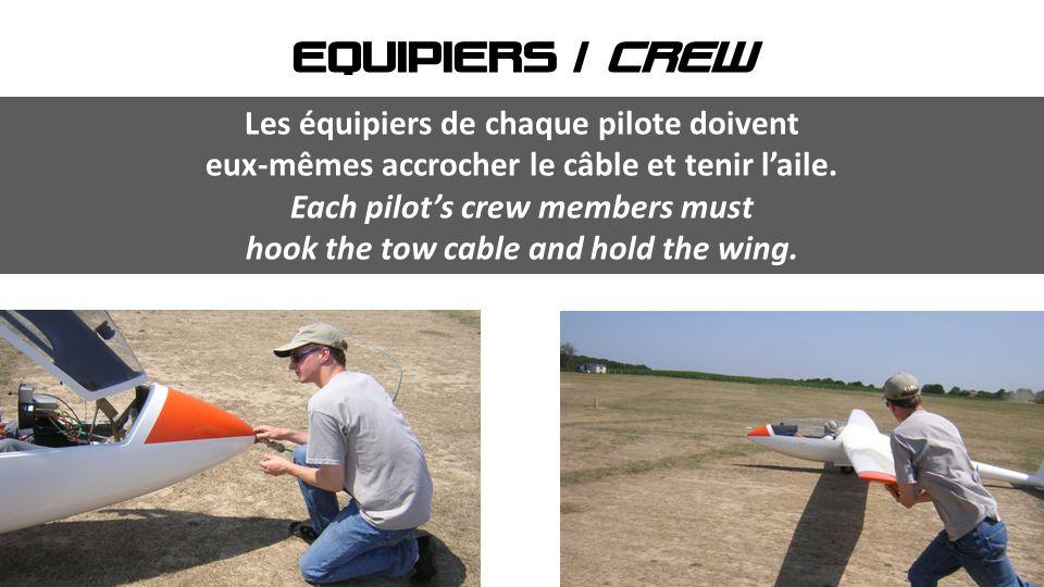 EQUIPIERS / CREW Les équipiers de chaque pilote doivent eux-mêmes accrocher le câble et tenir l'aile. Each pilot's crew members must hook the tow cabl