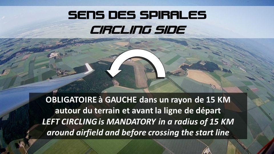 OBLIGATOIRE à GAUCHE dans un rayon de 15 KM autour du terrain et avant la ligne de départ LEFT CIRCLING is MANDATORY in a radius of 15 KM around airfi