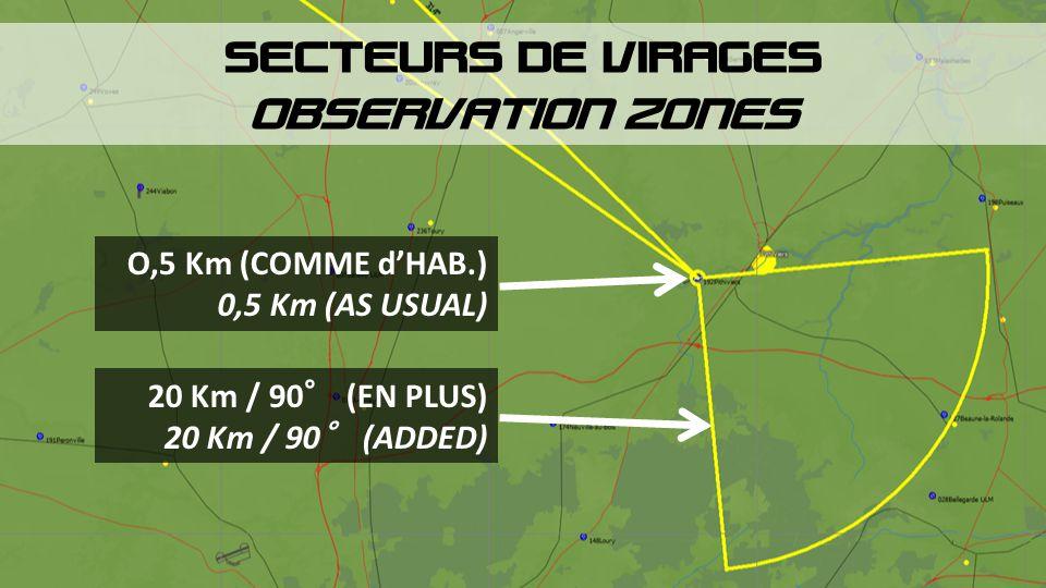 SECTEURS DE VIRAGES OBSERVATION ZONES O,5 Km (COMME d'HAB.) 0,5 Km (AS USUAL) 20 Km / 90° (EN PLUS) 20 Km / 90° (ADDED)