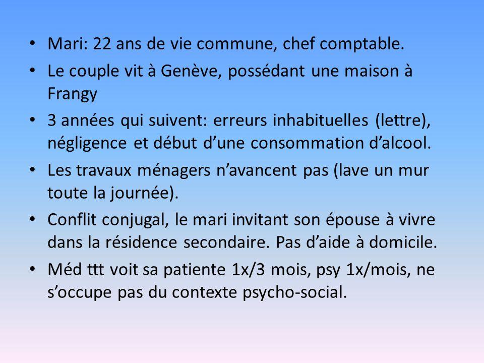 Mari: 22 ans de vie commune, chef comptable. Le couple vit à Genève, possédant une maison à Frangy 3 années qui suivent: erreurs inhabituelles (lettre