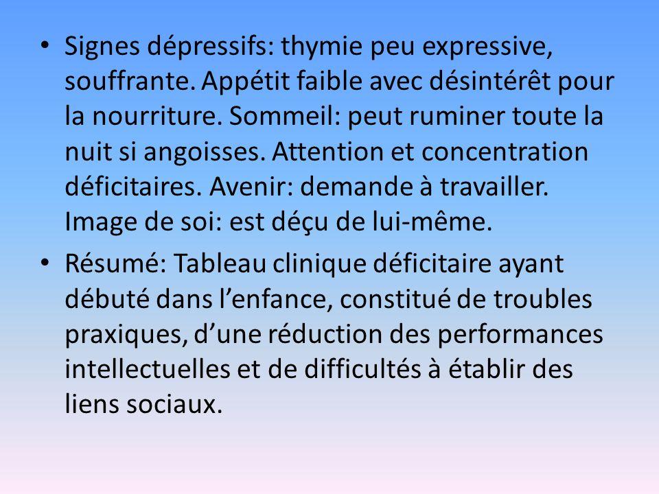 Signes dépressifs: thymie peu expressive, souffrante. Appétit faible avec désintérêt pour la nourriture. Sommeil: peut ruminer toute la nuit si angois