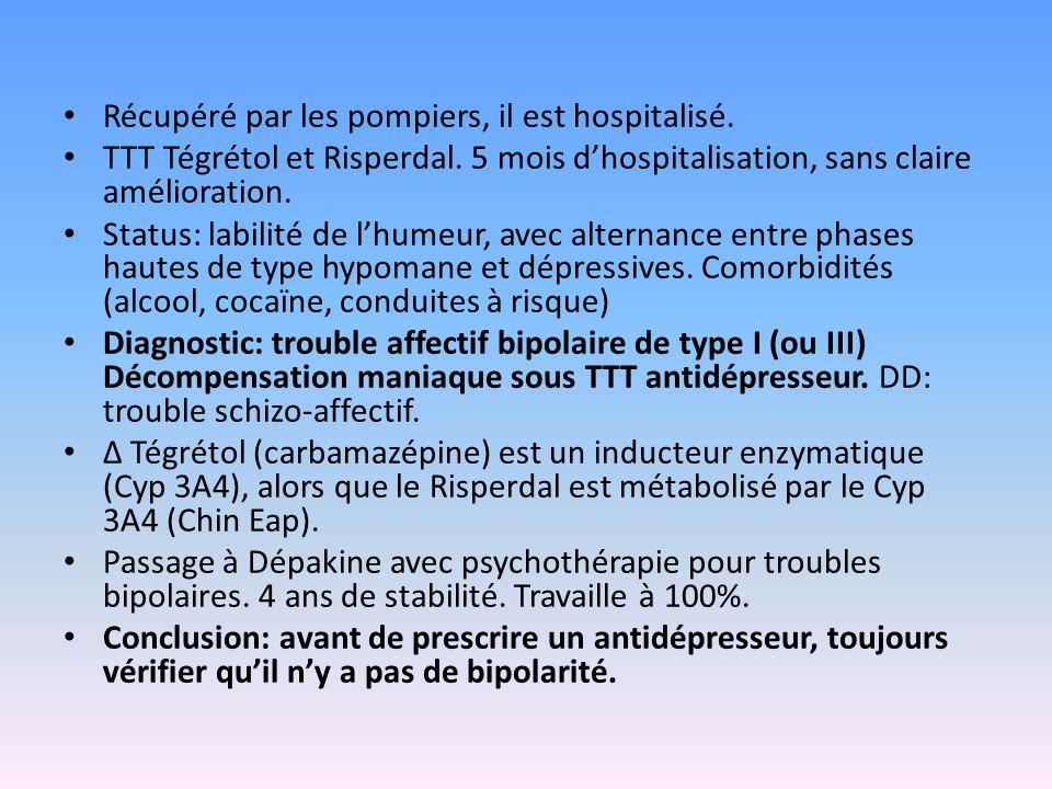 Récupéré par les pompiers, il est hospitalisé. TTT Tégrétol et Risperdal. 5 mois d'hospitalisation, sans claire amélioration. Status: labilité de l'hu
