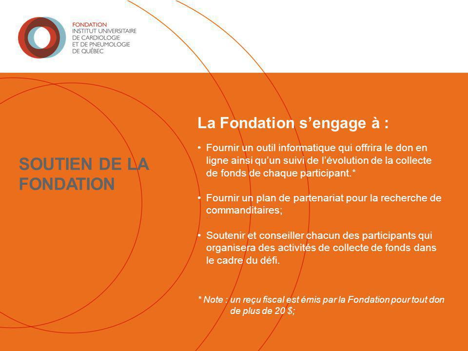 La Fondation s'engage à : Fournir un outil informatique qui offrira le don en ligne ainsi qu'un suivi de l'évolution de la collecte de fonds de chaque