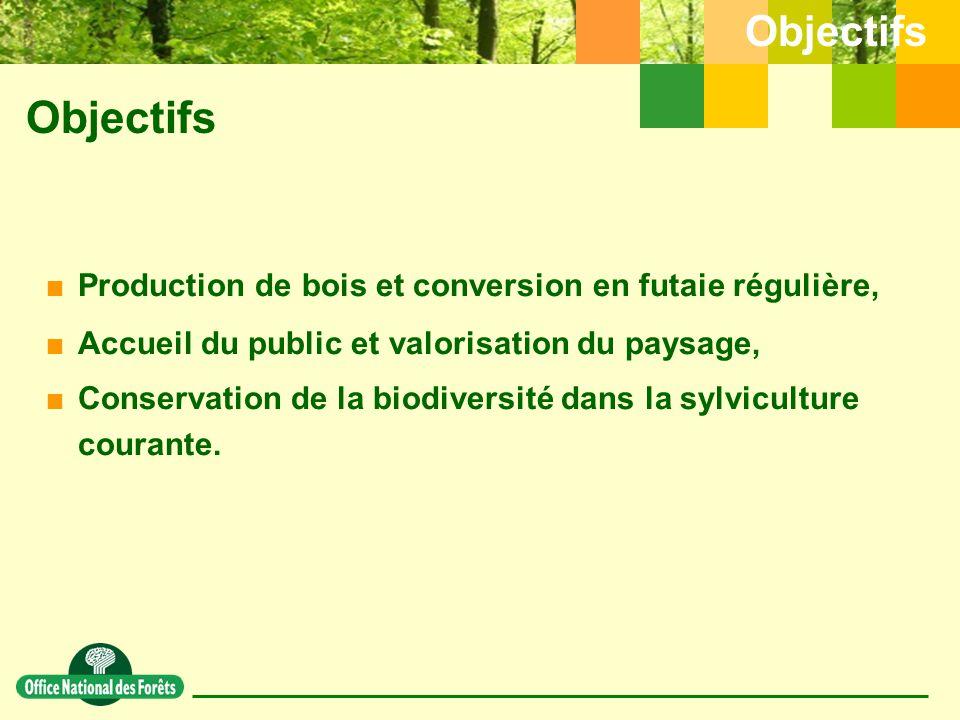 Objectifs  Production de bois et conversion en futaie régulière,  Accueil du public et valorisation du paysage,  Conservation de la biodiversité dans la sylviculture courante.
