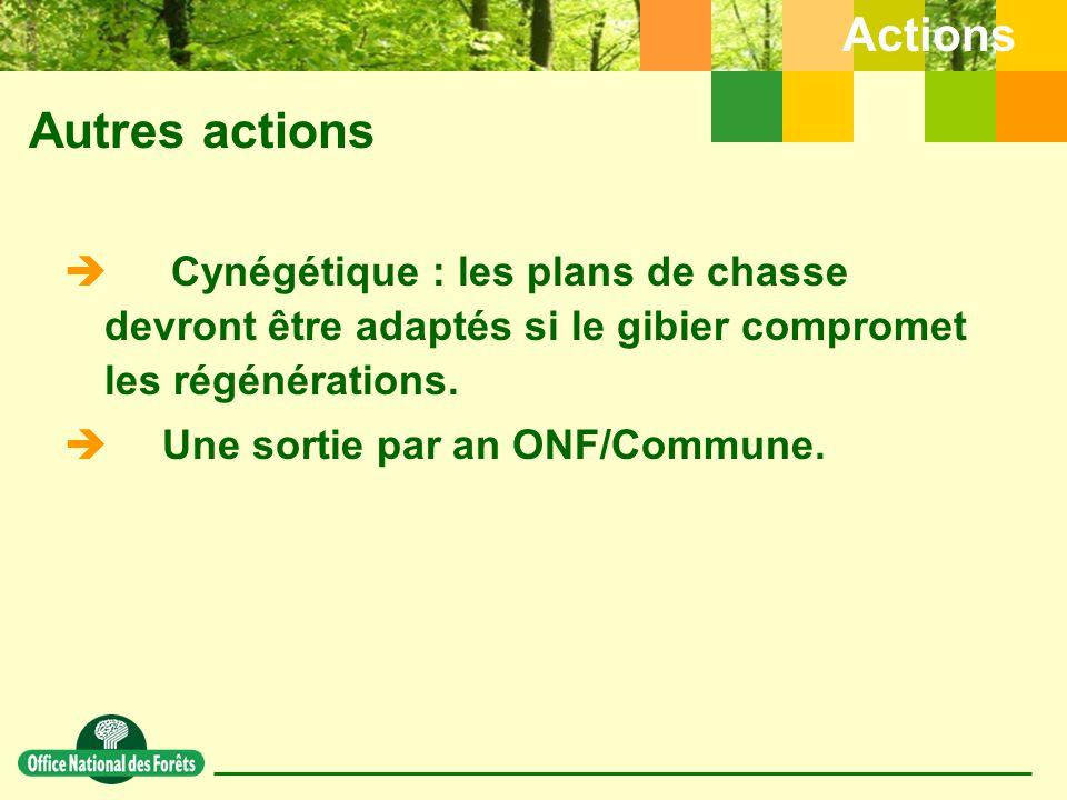 Autres actions Actions  Cynégétique : les plans de chasse devront être adaptés si le gibier compromet les régénérations.