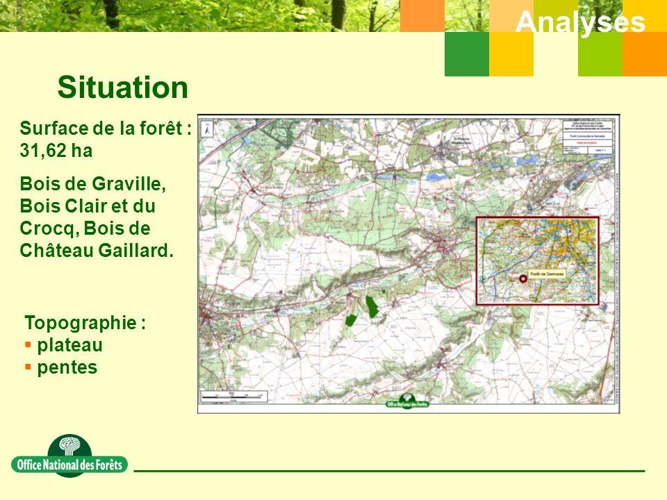 Situation Analyses Surface de la forêt : 31,62 ha Bois de Graville, Bois Clair et du Crocq, Bois de Château Gaillard.